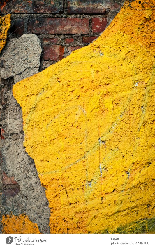 image Wall (barrier) Wall (building) Facade Brick Old Dirty Sharp-edged Simple Broken Yellow Gray Decline Past Transience Plaster Ravages of time Brick wall