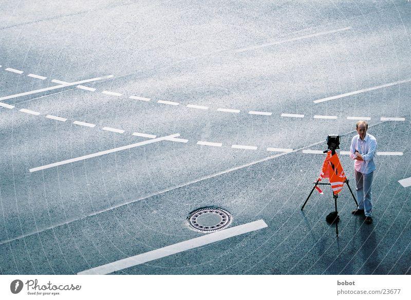 Man Street Photography Transport Camera Asphalt Photographer Take a photo Tar Three-legged