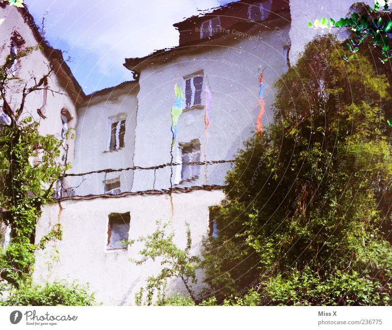 mirrors Water House (Residential Structure) Green White Puddle Water reflection Colour photo Multicoloured Exterior shot Deserted Reflection Blur