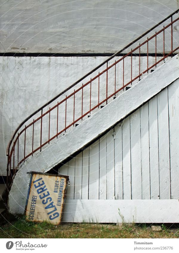 Old White Wall (building) Wood Stone Wall (barrier) Metal Stairs Signs and labeling Simple Word Unused Capital letter Billboard Glazier