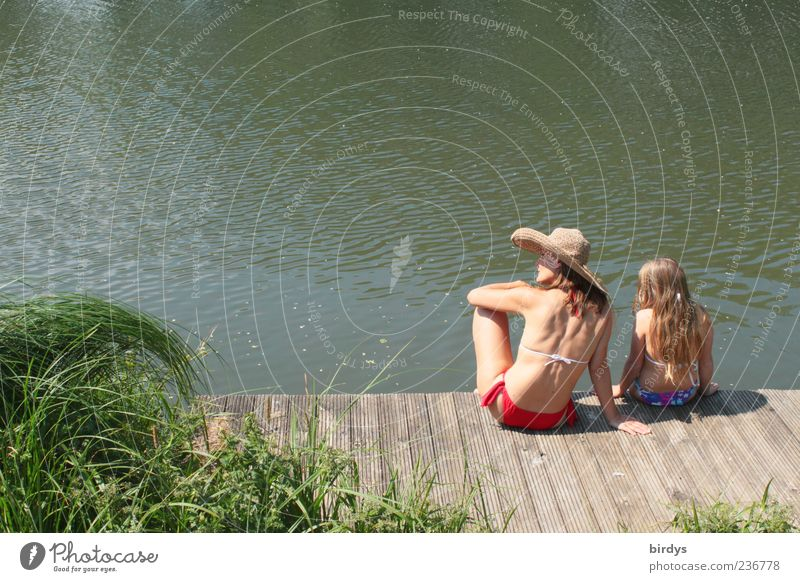 Human being Child Nature Youth (Young adults) Beautiful Summer Water Young woman Relaxation Calm Girl Adults Feminine Happy Swimming & Bathing Together