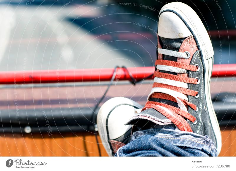 Double Means of transport Passenger traffic Road traffic Bus travel Street Fashion Jeans Footwear Chucks Red White Cozy Relaxation Colour photo Subdued colour