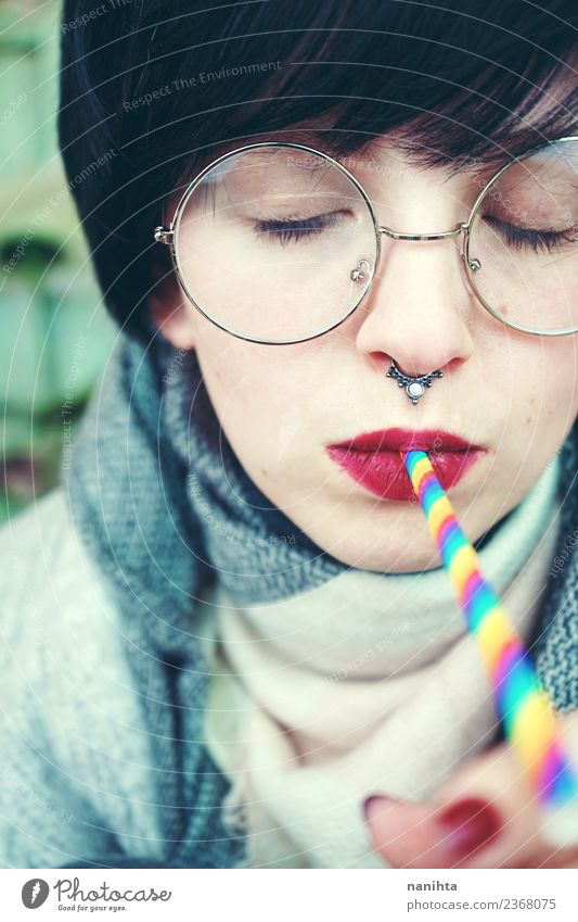 Young woman drinking with a rainbow straw Human being Youth (Young adults) Beautiful 18 - 30 years Face Adults Lifestyle Feminine Style Hair and hairstyles