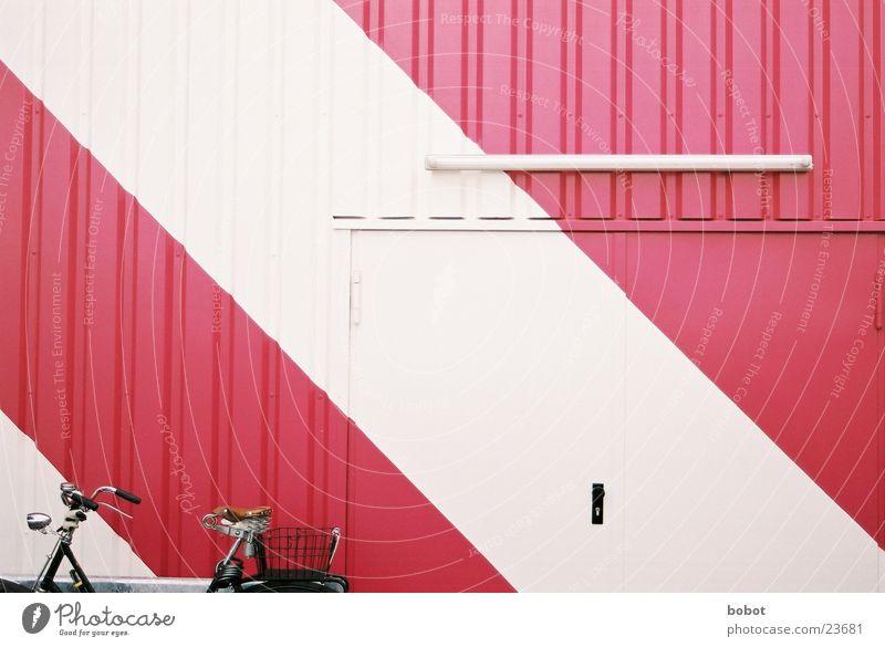 White Door Bicycle Pink Violet Gate Purple Corrugated sheet iron