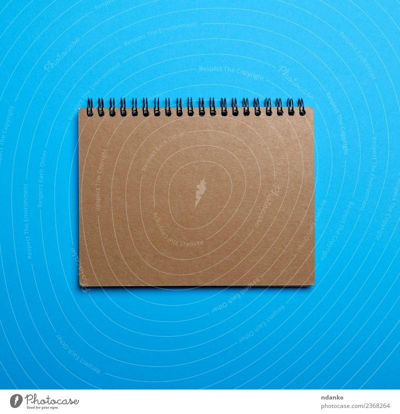 notebook with brown empty sheets Blue Colour Business School Brown Open Vantage point Table Idea Paper Top Conceptual design Notebook Blank Diary Hole