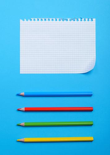white blank sheet Blue Green White Red Yellow Wood School Idea Paper Society Pen Pencil Consistency Notebook Torn Grid