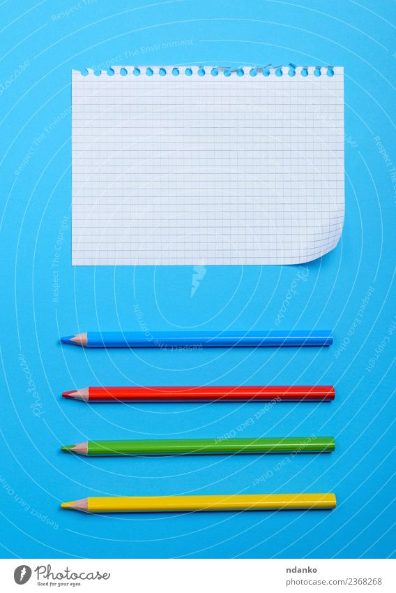 white blank sheet School Paper Pen Wood Blue Yellow Green Red White Society Idea Pencil Bent corner Hole Notebook background Graph Grid Blank page Consistency