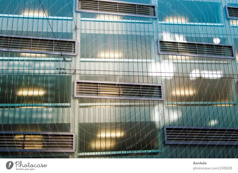 2046 Facade Esthetic Cold Window Parking garage Abstract Futurism Colour photo Exterior shot Pattern Deserted Day Architecture Building Lighting