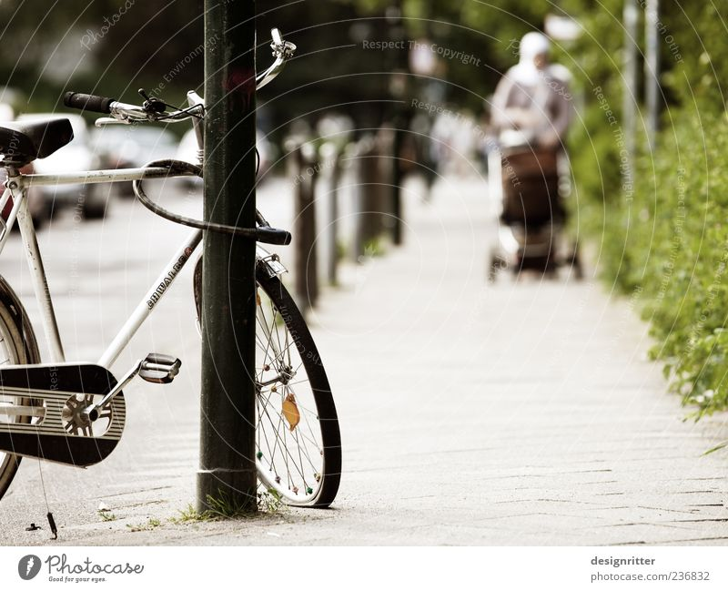 Woman City Loneliness Adults Street Family & Relations Bicycle Gloomy Empty Poverty Broken To go for a walk Mother Sidewalk Passenger traffic Boredom
