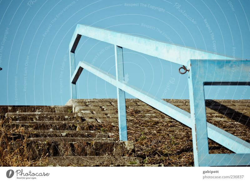 Sky Old Blue Above Brown Stairs Tall Gloomy Transience Handrail Past Decline Rust Banister Trashy Upward
