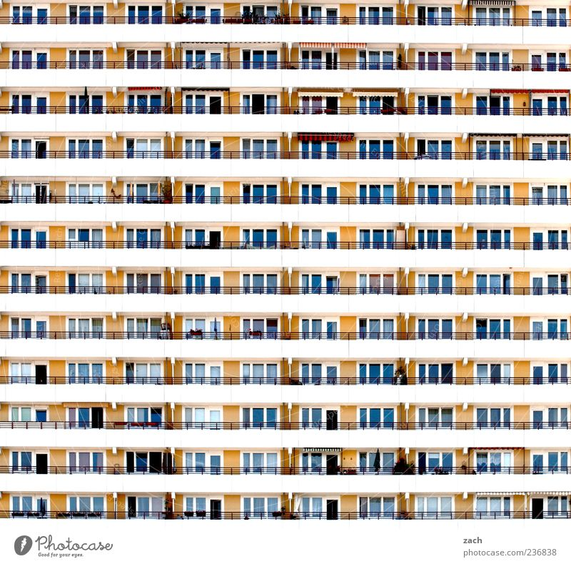 City Loneliness House (Residential Structure) Yellow Window Wall (building) Berlin Architecture Wall (barrier) Building Line Facade Concrete High-rise Living or residing Gloomy