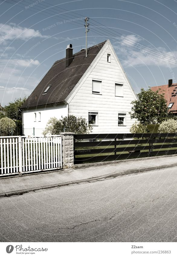 mean House (Residential Structure) Garden Sky Clouds Tree Bushes Traffic infrastructure Esthetic Simple Friendliness Retro Clean Gloomy Nostalgia Arrangement