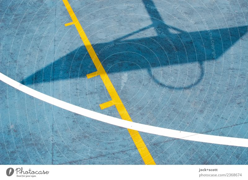 Shadow cast on basketball court Style Basketball Basketball basket Basketball arena Summer Australia Plastic Line Sharp-edged Under Warmth Blue Yellow Moody