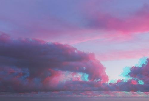 Abstract watercolor ultraviolet clouds Beautiful Summer Sun Ocean Wallpaper Nature Landscape Sky Clouds Horizon Dream Blue Pink Red Colour glitch Effect Purple