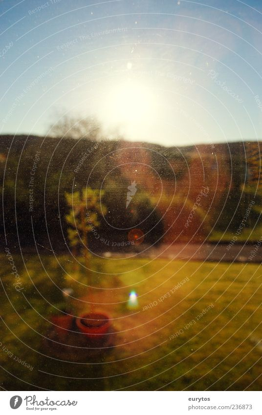 Sky Nature Blue Sun Summer Environment Yellow Landscape Garden Horizon Double exposure Window pane View from a window Morning