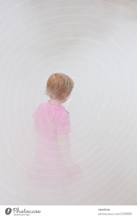 Child in the fog Girl Head Hair and hairstyles 1 Human being 3 - 8 years Infancy Air Fog Dress Gray Pink Subdued colour Exterior shot Neutral Background Day