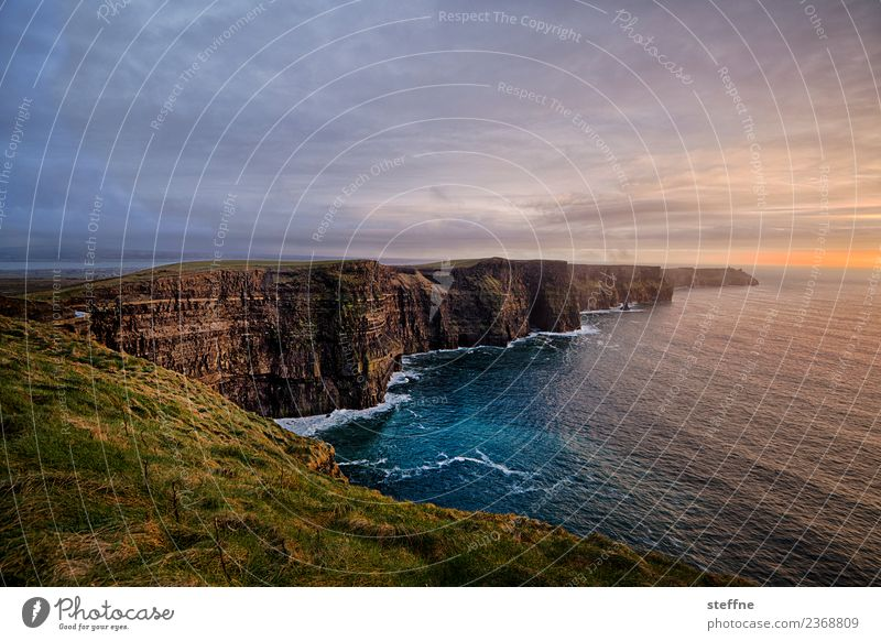 Cliffs of Moher at sunset Nature Landscape Sky Sunrise Sunset Sunlight Spring Esthetic Exceptional Tall Coast Ireland Tourist Attraction Tourism Moody Waves