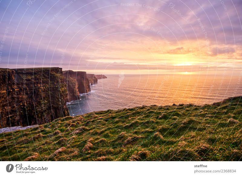 Cliffs of Moher at sunset Nature Landscape Sunrise Sunset Sunlight Spring Exceptional Famousness Ireland Natural phenomenon Kitsch Romance Harmonious Calm