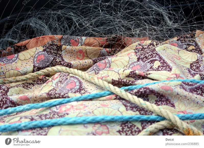 Fritz F. wraps up Work and employment Net Blue Rope Fishing net Cloth Pattern Packaged Colour photo Subdued colour Exterior shot Structures and shapes Deserted