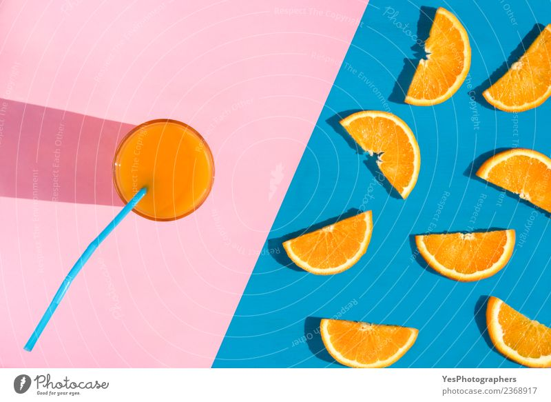 Glass with orange juice Summer Colour Healthy Orange Pink Copy Space Fruit Fresh Beverage Delicious Seasons Breakfast Still Life Refreshment Diet