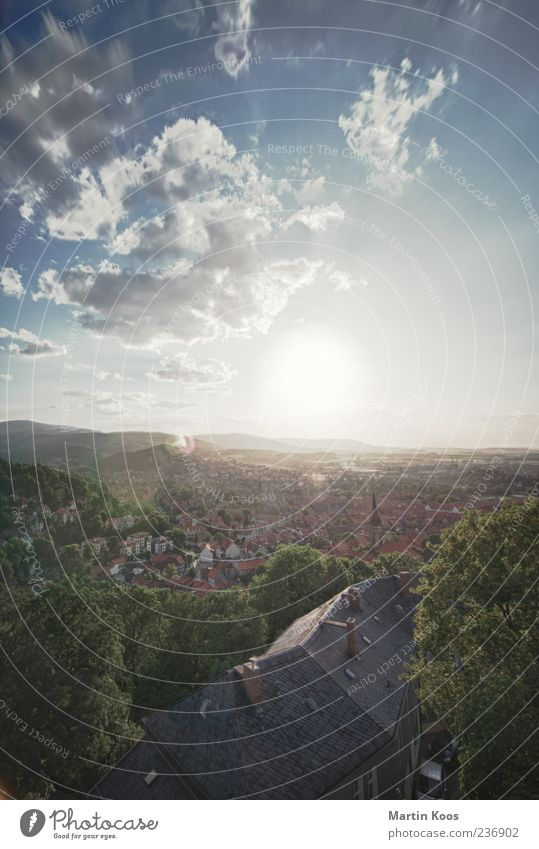 In the Harz Sun Sunlight Summer Beautiful weather Wernigerode Small Town Esthetic Historic Colour photo Exterior shot Aerial photograph Bird's-eye view