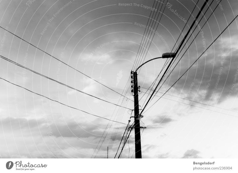 Clouds Loneliness Street Gray Lamp Energy industry Electricity Cable Telecommunications Technology Street lighting Electricity pylon Transmission lines
