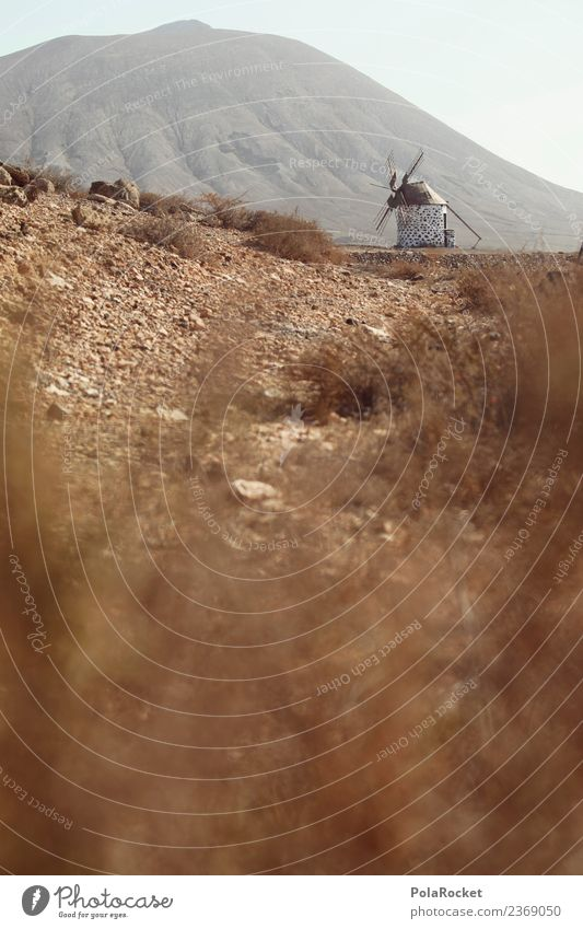 #AS# Mill Trail Art Esthetic Lanes & trails Fuerteventura Gloomy Badlands Sparse Windmill Historic Spain Colour photo Subdued colour Exterior shot Detail