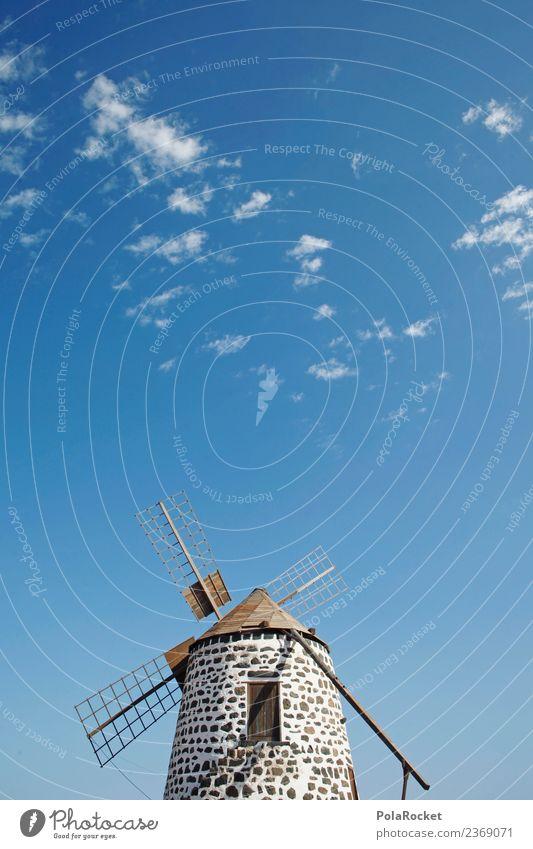 #AS# Blue Mill Art Esthetic Windmill Windmill vane Calm Wind energy plant Fuerteventura Spain Blue sky Vacation photo Colour photo Multicoloured Exterior shot