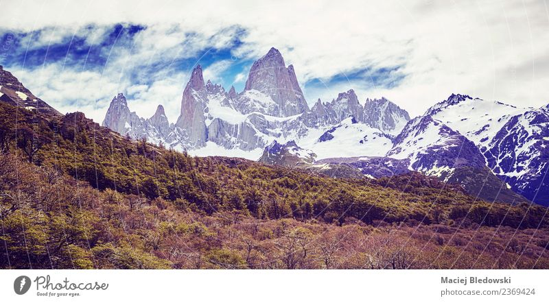 Fitz Roy Mountain Range. Vacation & Travel Tourism Trip Adventure Far-off places Freedom Expedition Camping Snow Hiking Nature Landscape Clouds Climate Bushes