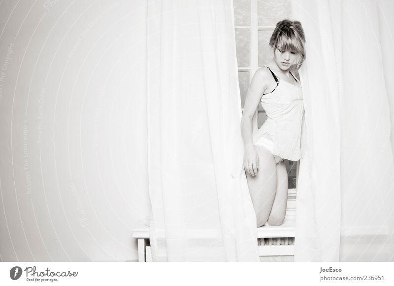 #236951 Elegant Style Beautiful Feminine Woman Adults Underwear To hold on Uniqueness Natural Window board Curtain Night dress Black & white photo Interior shot