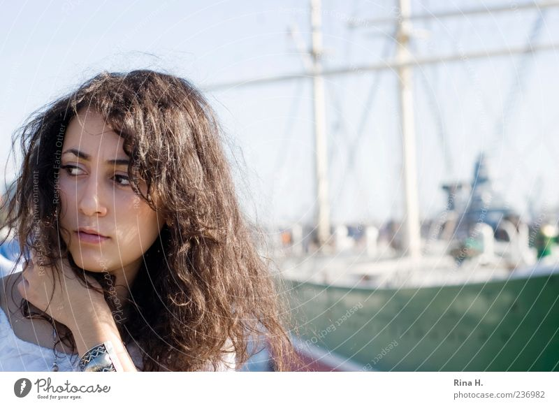 Hamburg Deern Feminine Young woman Youth (Young adults) 1 Human being 18 - 30 years Adults Port City Harbour Navigation Sailing ship Hair and hairstyles Curl