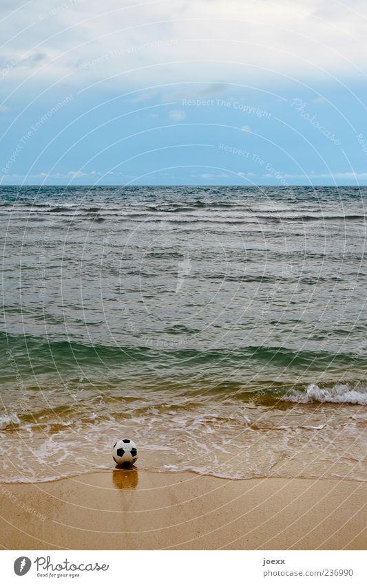 flotsam and jetsam Ball sports Sand Water Sky Clouds Horizon Summer Waves Coast Beach Ocean Blue Brown Green Black White Colour photo Subdued colour