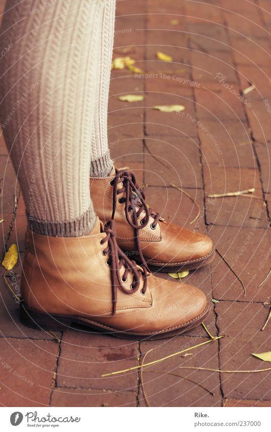 Human being Nature Leaf Feminine Autumn Style Legs Fashion Feet Footwear Wait Stand Retro Boots Stockings Hip & trendy