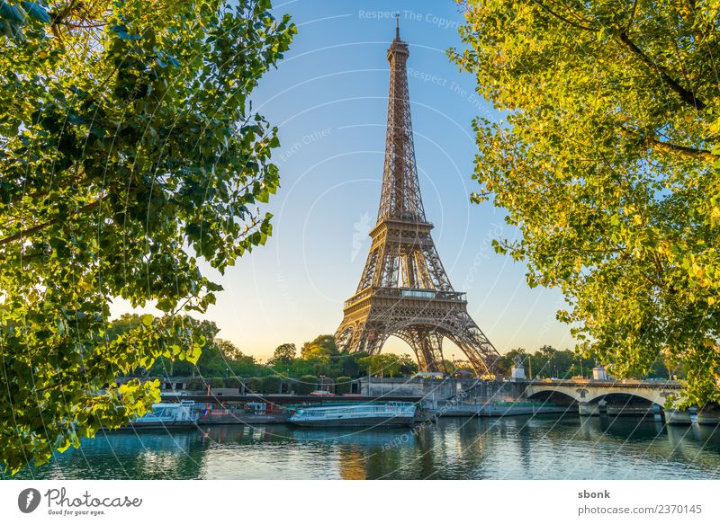 Eiffel Tower in summer Vacation & Travel Summer Paris Town Skyline Love France urban City architecture tourism French cityscape view sky Exterior shot Morning