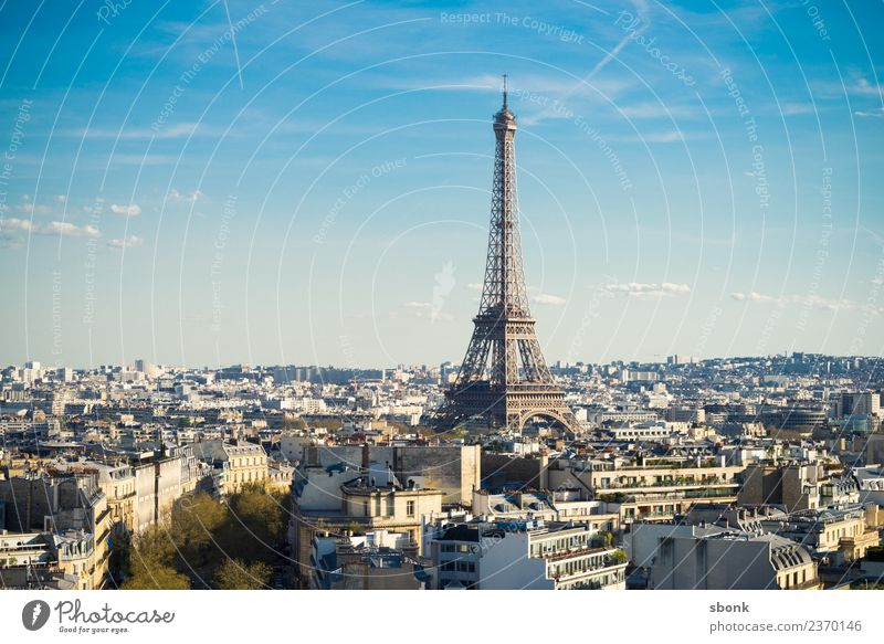 Paris Skyline Manmade structures Building Architecture Tourist Attraction Landmark Monument Eiffel Tower Vacation & Travel Copy Space top Day