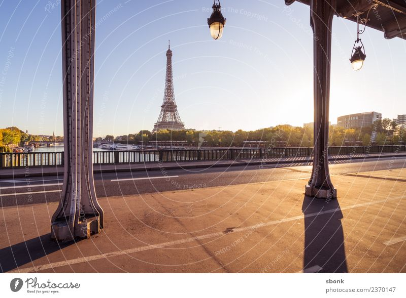 Paris summer morning Vacation & Travel Summer Town Skyline Eiffel Tower Love France urban City architecture tourism French cityscape view sky Colour photo