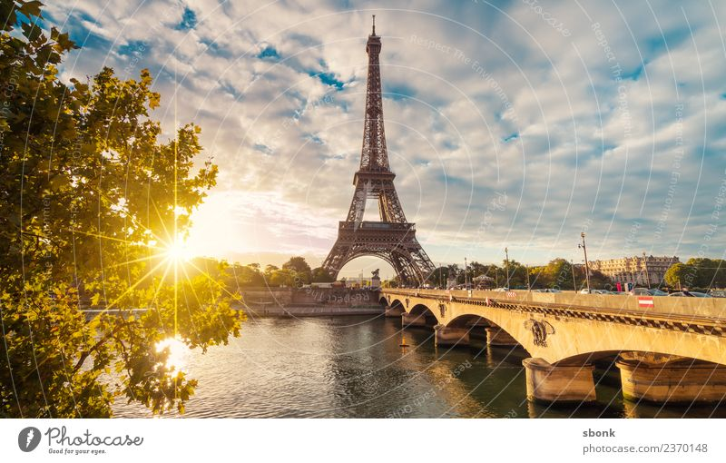 Sunbeams in Paris Vacation & Travel Summer Town Skyline Eiffel Tower Love France urban City architecture tourism French cityscape view sky Colour photo Morning