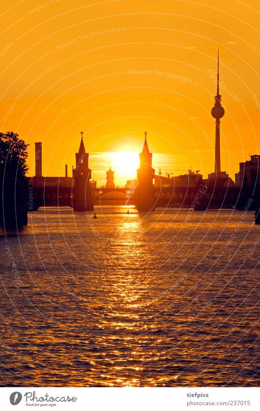 berlin evening glow Tourism River Skyline Bridge Tourist Attraction Landmark Yellow Gold Red Berlin Oberbaumbrücke Sunset Kreuzberg Friedrichshain Spree Orange