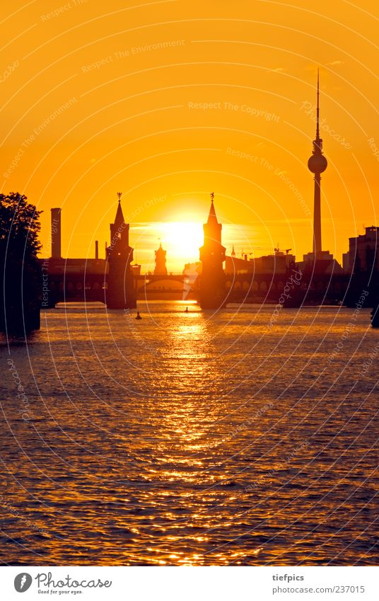 Water Red Summer Yellow Berlin Orange Gold Tourism Bridge River Skyline Landmark Tourist Attraction Berlin TV Tower Kreuzberg Spree