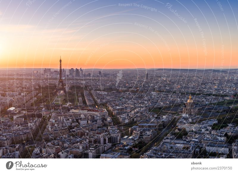 Paris Sunset Vacation & Travel Summer Skyline Eiffel Tower Love France urban City architecture tourism French cityscape view sky Exterior shot Deserted