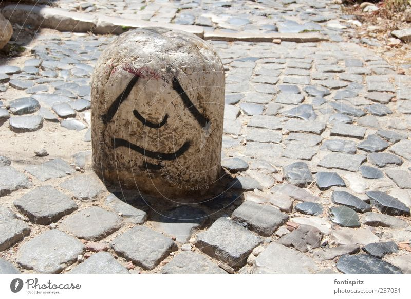 The hard life of a stone Stone Graffiti Sadness Gray Boredom Colour photo Exterior shot Deserted Day Sunlight Bollard 1 Facial expression Copy Space right Black