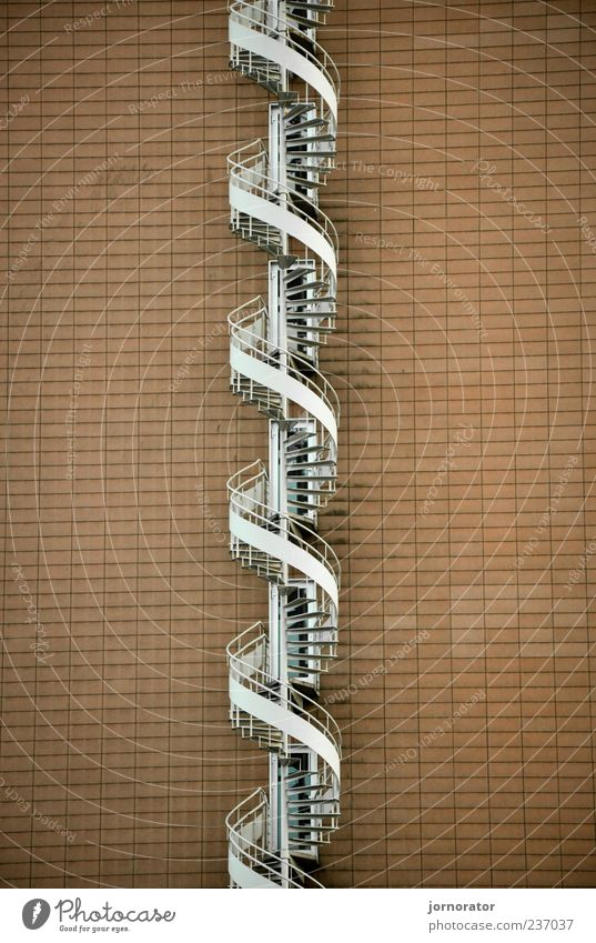 Stairs DNA Building Architecture Wall (barrier) Wall (building) Esthetic Infinity Brown White Upward Winding staircase Go up Colour photo Exterior shot