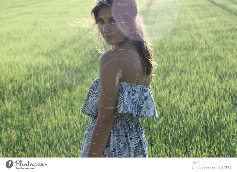 Nature Youth (Young adults) Beautiful Summer Feminine Grass Happy Wind Contentment Power Field Back Happiness Young woman Illuminate 18 - 30 years