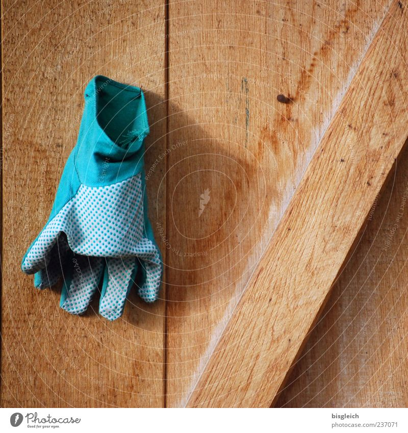 closing time Gardener Market garden Gardening Closing time Gloves garden glove Hang Brown Green Calm Wood Wooden board Wooden wall Colour photo Exterior shot