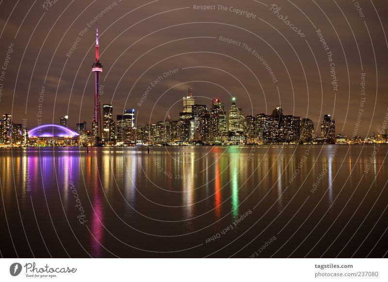 Toronto Town Canada Evening Night Twilight Light Lighting Multicoloured Water Ontario Lake Ontario Americas North America Colour photo Copy Space bottom