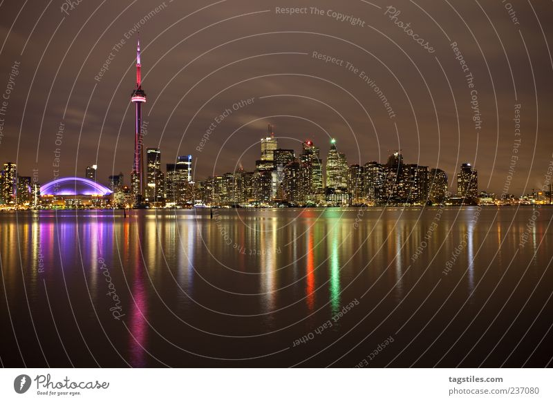 Water City Vacation & Travel Calm Lighting High-rise Travel photography Idyll Fantastic Skyline Americas Dusk Panorama (Format) Canada Night sky Graceful