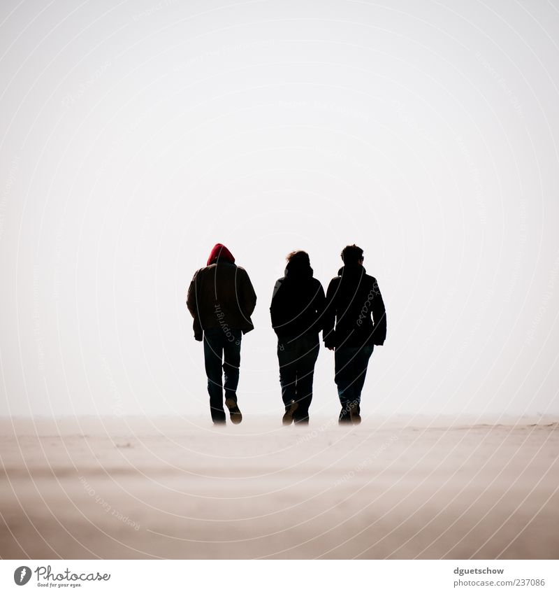 3 Trip Beach Ocean Hiking Human being Masculine Woman Adults Man Sand Cloudless sky North Sea Going Serene Calm To go for a walk Colour photo Subdued colour