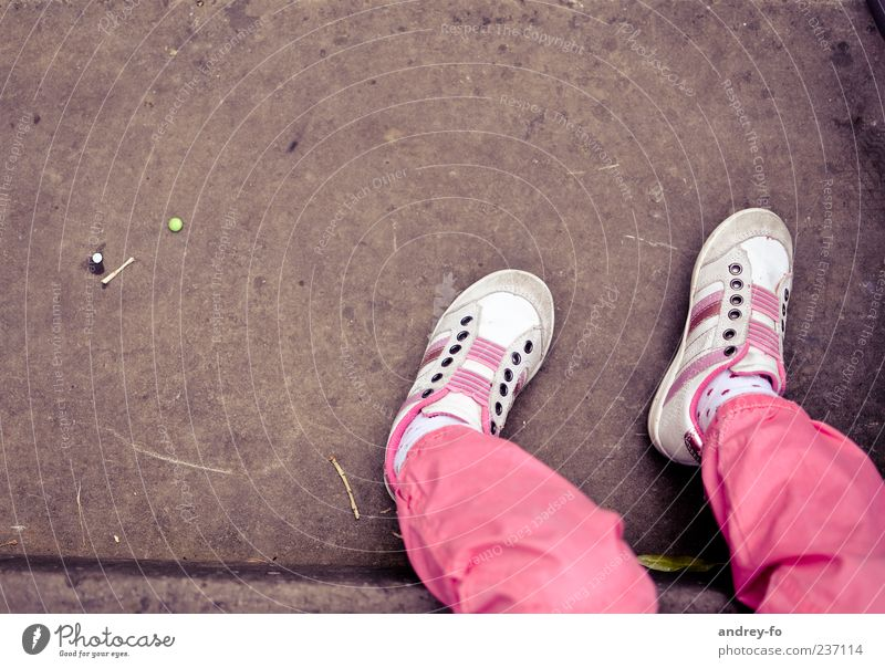 legs Legs 1 Human being 3 - 8 years Child Infancy Pants Footwear Stone Sit Life Relaxation Sneakers Pink Brown Feet Stockings Bird's-eye view Small Ground