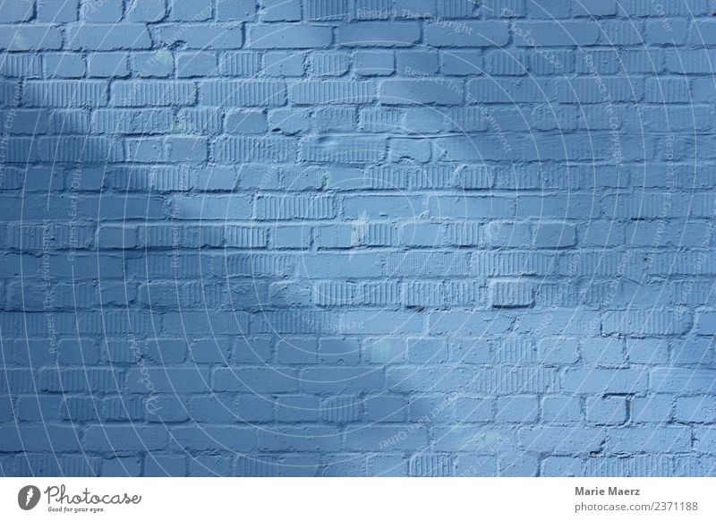 Blue brick wall with light & shadow Wall (barrier) Wall (building) Facade Relaxation Looking Friendliness Safety Calm Hope Background picture