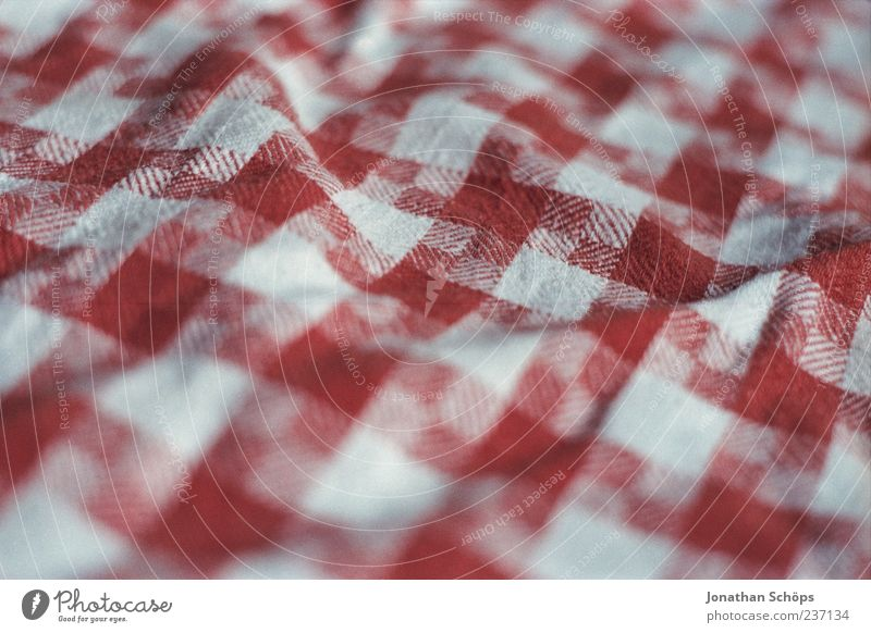 Table and chairs Red White Towel Dish towel Floor cloth Rag Checkered Folds Wrinkled Structures and shapes Cloth Cloth pattern Colour photo Exterior shot